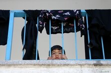 A Palestinian boy, who fled her family's home due to Israeli air and artillery strikes, looks through a railing at a United…