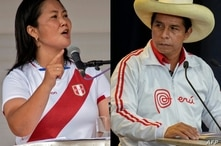 (COMBO) This combination of pictures created on June 03, 2021 showsa file photo taken on May 01, 2021 of Peruvian presidential…