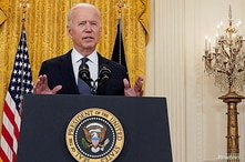 FILE PHOTO: U.S. President Joe Biden delivers remarks on the U.S. economy in the East Room at the White House in Washington, U…