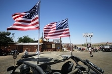 BARSTOW, CALIFORNIA - MAY 23: Off-highway vehicle (OHV) riders meet outside the Slash X Ranch Cafe, still shuttered due to the…