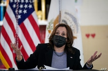 NEW HAVEN, CT - MARCH 26: U.S. Vice President Kamala Harris takes questions from reporters following a roundtable session about…