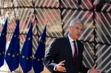 Slovenia's Foreign Minister Ivan Korcok makes a statement to the media as he arrives for a meeting of EU foreign ministers at…