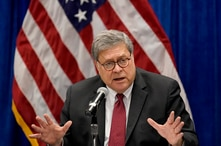 U.S. Attorney General William Barr speaks during a roundtable discussion on Operation Legend, a federal program to help cities…