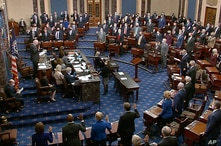 In this image from video, Sen. Patrick Leahy, D-Vt., the president pro tempore of the Senate, who is presiding over the…
