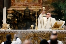 Pope Francis leads a Mass for the Feast of Epiphany in St. Peter's Basilica at the Vatican, Wednesday, Jan. 6, 2021. (Remo…