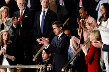 Venezuelan opposition leader Juan Guaido applauds as President Donald Trump delivers his State of the Union address to a joint…