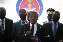 Haiti's interim Prime Minister Claude Joseph gives a press conference in Port-au-Prince, Friday, July 16, 2021, the week after…
