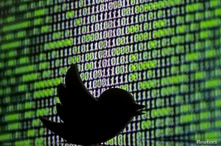 FILE PHOTO: 3D printed Twitter logo is seen in front of a displayed cyber code