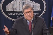 Video grab of U.S. Attorney General Barr holding news conference on nationwide protests in response to death of George Floyd in Washington