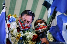 Luis Arce, presidential candidate for the Movement to Socialism (MAS) party, attends a campaign rally in El Alto