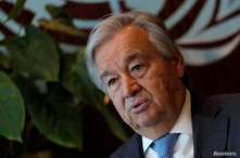 United Nations Secretary-General Antonio Guterres during interview with Reuters at U.N. headquarters in New York