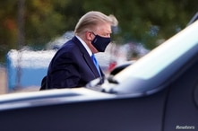 U.S. President Trump arrives to spend at least several days at Walter Reed National Military Medical Center in Bethesda, Maryland
