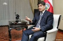 Costa Rica's President Carlos Alvarado attends an interview with Reuters in San Jose
