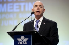 FILE PHOTO: Alejandro Mayorkas, U.S. Deputy Secretary of Homeland Security, speaks at the 2015 International Air Transport Association (IATA) Annual General Meeting (AGM) and World Air Transport Summit in Miami Beach, Florida