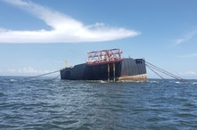 FILE PHOTO: The Nabarima floating storage and offloading (FSO) facility is seen tilted in the Paria Gulf