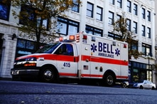 A Bell Ambulance speeds through the Bronzeville neighborhood on the North Side of Milwaukee, Wisconsin