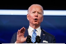U.S. President-elect Joe Biden delivers remarks during a televised speech on the current economic and health crises at The Queen Theatre in Wilmington