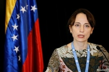 UN Special Rapporteur on Negative Impact of Unilateral Coercive Measures on Human Rights, Alena Douhan, speaks during a news conference in Caracas