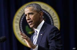 President Barack Obama speaks at the White House Summit on Countering Violent Extremism Feb. 18, 2015 in the Eisenhower Executive Office Building in Washington.