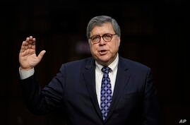 Attorney General nominee William Barr is sworn in before the Senate Judiciary Committee on Capitol Hill in Washington, Jan. 15, 2019.