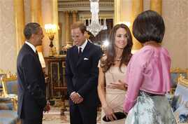 El presidente Obama, el príncipe William, la duquesa de Cambridge y la primera dama Michelle Obama en el palacio de Buckingham en 2011.