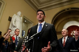 Speaker of the House Paul Ryan (R-WI) speaks after the House of Representatives passed tax reform legislation