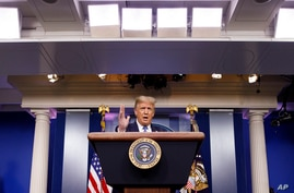 President Donald Trump speaks during a news conference at the White House, Wednesday, July 22, 2020, in Washington. (AP Photo…