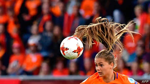 Netherlands' forward Lieke Martens heads the ball during the UEFA Women's Euro 2017 football match between Belgium and the Netherlands at Stadium Koning Wilhelm II in Tilburg, Netherlands, July 24, 2017.