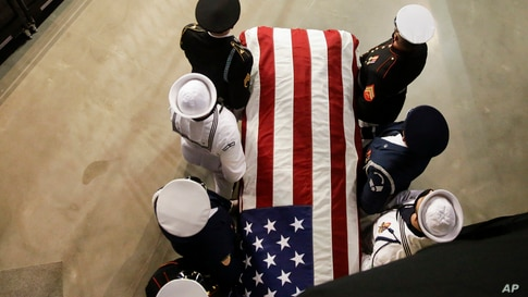 The casket of the late Rep. John Lewis, D-Ga., arrives to lie in repose at Troy University on Saturday, July 25, 2020, in Troy,…