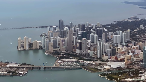 Jan 27, 2020; Miami, Florida; USA; General overall aerial view of the American Airlines Arena and the downtown Miami skyline…