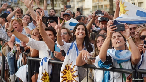 Supporters react as Uruguay's new President Luis Lacalle Pou is sworn into office, in Montevideo, Uruguay March 1, 2020…