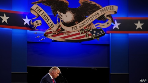 US President Donald Trump speaks during the final presidential debate at Belmont University in Nashville, Tennessee, on October…