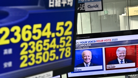 A screen displays Tokyo Stock Exchange share prices as a news channel features portraits of US presidential candidates Donald…