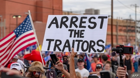 Supporters of US President Donald Trump protest in front of  the Maricopa County Election Department while votes are being…