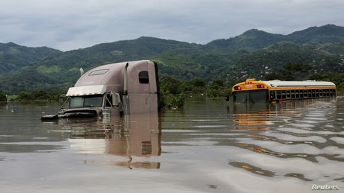 Partially submerged truck and bus are seen along a flooded street during the passage of Storm Eta, in Pimienta, Honduras…