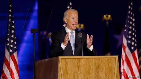 Democratic 2020 U.S. presidential nominee Joe Biden speaks at his election rally, after the news media announced that Biden has…