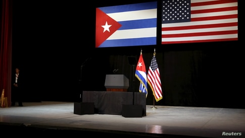 The stage is set with Cuban and U.S. flags beforefor U.S. President Barack Obama addresses the Cuban people from the stage at…