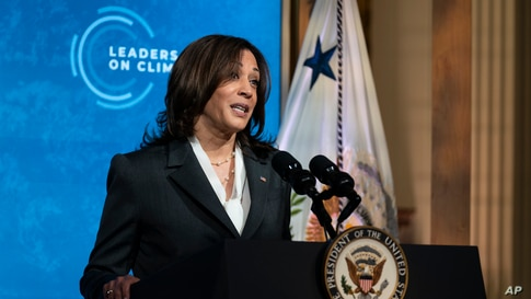 Vice President Kamala Harris speaks to the virtual Leaders Summit on Climate, from the East Room of the White House, Thursday,…