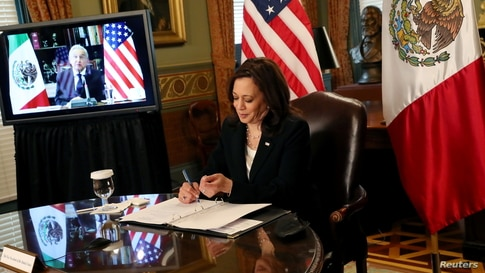 U.S. Vice President Kamala Harris holds a virtual bilateral meeting with Mexico's President Andres Manuel Lopez Obrador from…