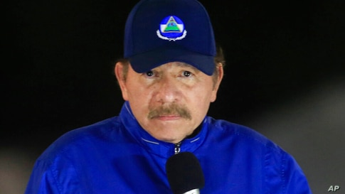 FILE - In this March 21, 2019 file photo, Nicaragua's President Daniel Ortega speaks during the inauguration ceremony of a…