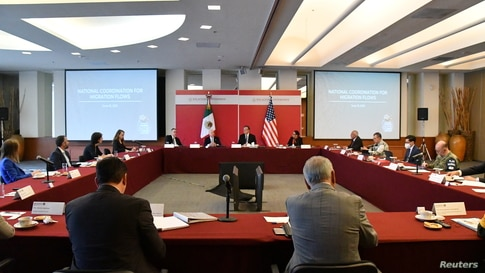 Department of Homeland Security (DHS) Secretary Alejandro Mayorkas and Mexican Foreign Minister Marcelo Ebrard meet along with…