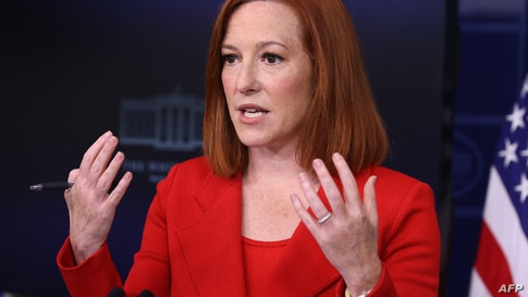 WASHINGTON, DC - APRIL 12: White House Press Secretary Jen Psaki talks to reporters during the daily news conference in the…