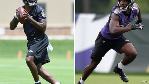 FILE - At left, in a May 30, 2019, file photo, Baltimore Ravens quarterback Lamar Jackson throws during NFL football in Owings…