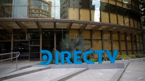 A DirectTV logo identifies the company's headquarters in Caracas, Venezuela, Friday, May 22, 2020. Venezuela's high court…