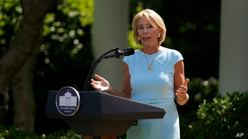 Education Secretary Betsy DeVos speaks during an event in the Rose Garden of the White House, Thursday, July 9, 2020, in…