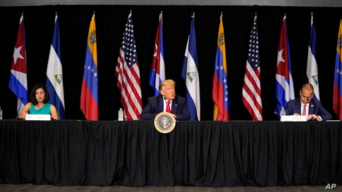 President Donald Trump speaks during a roundtable on Venezuela at Iglesia Doral Jesus Worship Center, Friday, July 10, 2020, in…