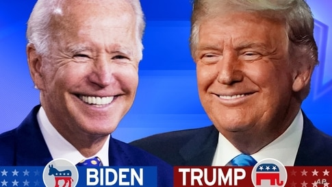 Joe BIDEN, as Democratic presidential nominee, and President Donald TRUMP, as Republican presidential nominee (l-r), on texture…