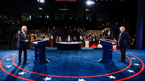 President Donald Trump and Democratic presidential candidate former Vice President Joe Biden participate in the final…