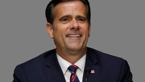 John Ratcliffe headshot, as US Representative of Texas, during his nomination hearing on Capitol Hill in Washington, graphic…