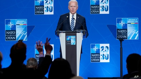 President Joe Biden speaks during a news conference at the NATO summit at NATO headquarters in Brussels, Monday, June 14, 2021…